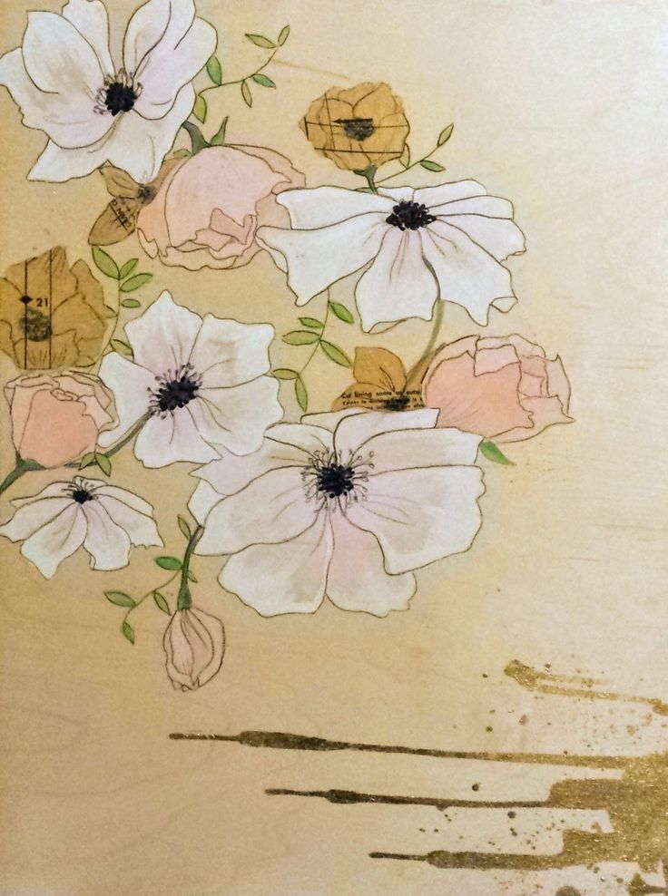 Mixed-media on wood #nurseryart #flowers #goldleaf #sewingpatterns