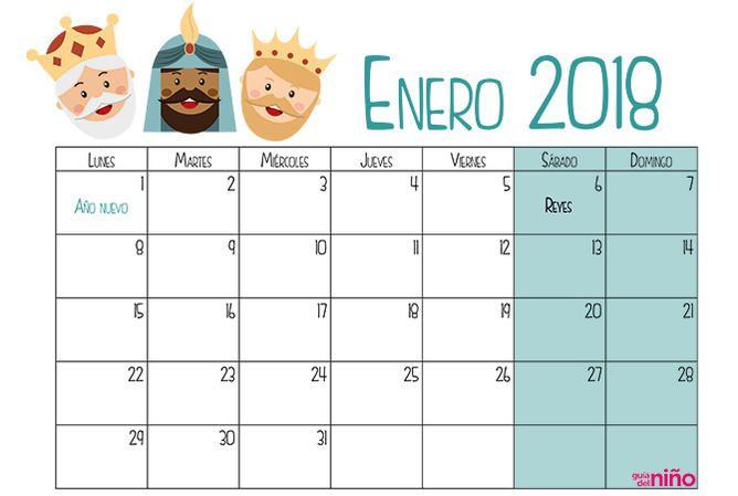 Enero 2018 Con Imagenes Calendario Para Ninos Calendario