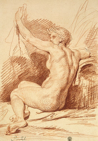 Study of a Nymph  Greuze, Jean-Baptiste.  Red chalk. 45.5x31.6 cm