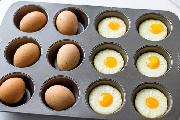 Simple recipe for oven baked and oven hard boiled eggs. - Oven Baked Eggs  1. Preheat oven to 350 degrees.  2. Grease a 12 cup muffin pan.  3. Crack eggs separately into each muffin cup in the muffin pan.  4. Sprinkle eggs with sea salt.  5. Bake in oven for 15-20 minutes.  6. Let cool for 2-3 minutes and then release from pan.