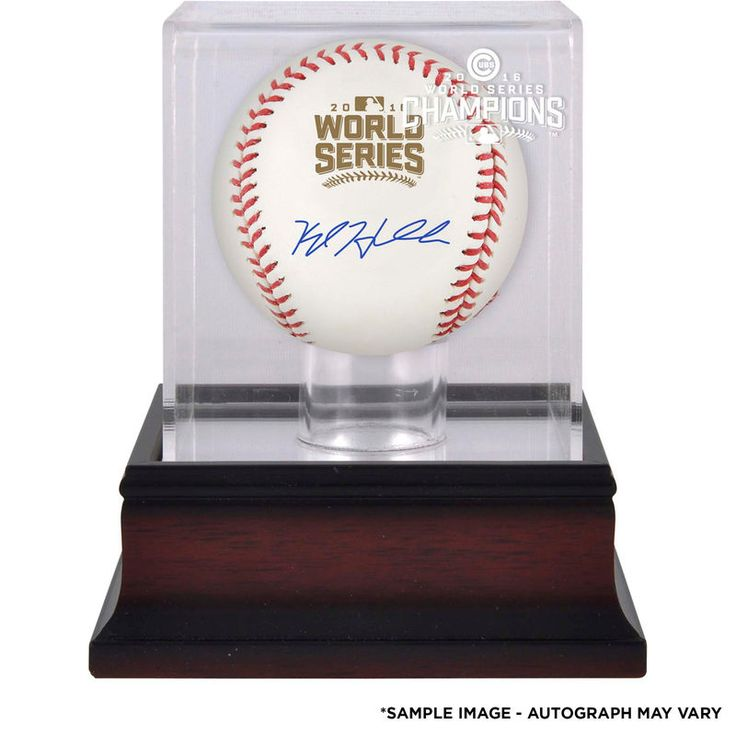 Kyle Hendricks Chicago Cubs Fanatics Authentic 2016 MLB World Series Champions Autographed World Series Logo Baseball and Mahogany Baseball Display Case