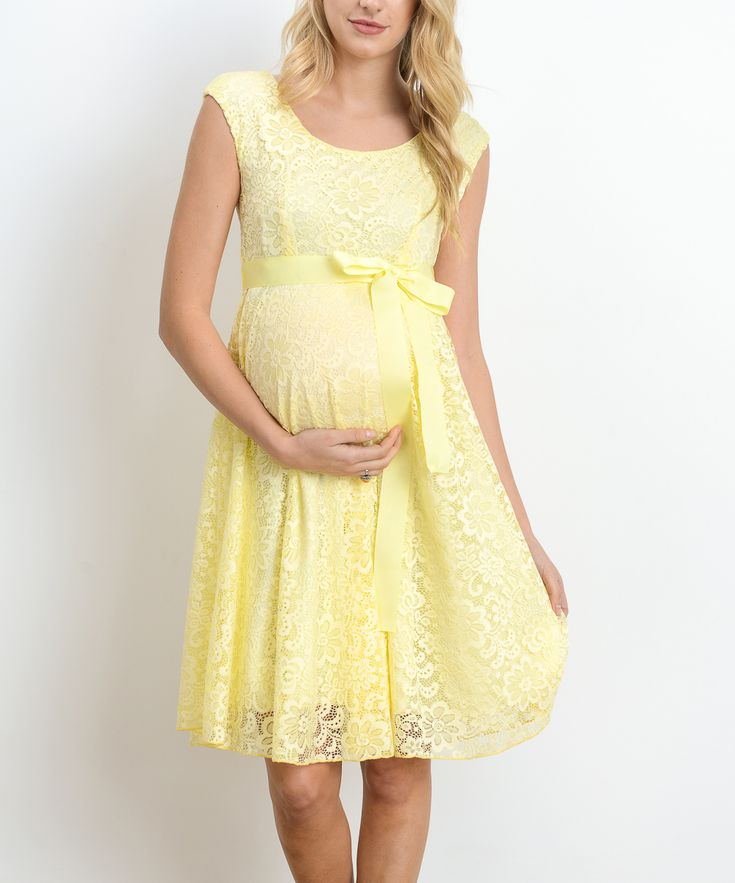Hello Miz Yellow Floral Lace Maternity Scoop Neck Dress