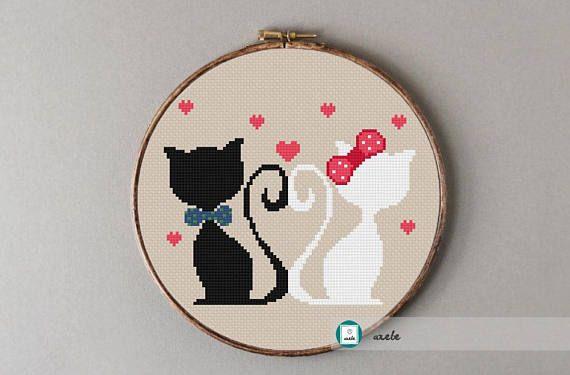 Cats in love cross stitch patternmodern pattern PDF DIY