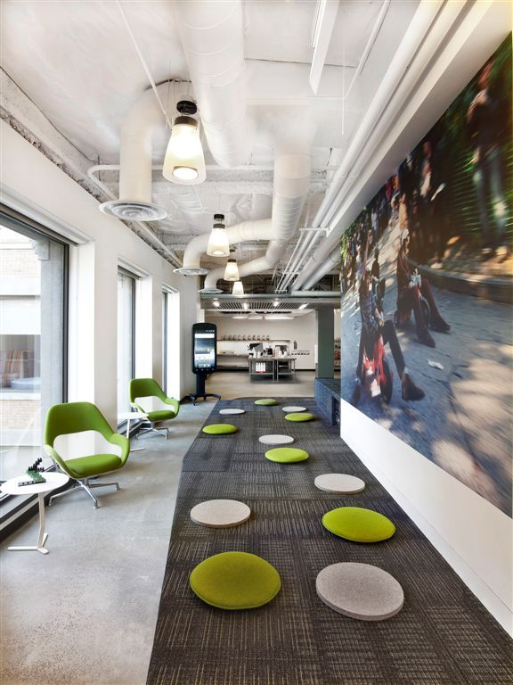 Open Flexible Workplace At Googles San Francisco Campus Comprised Of Creative Branding Elements And Recycled