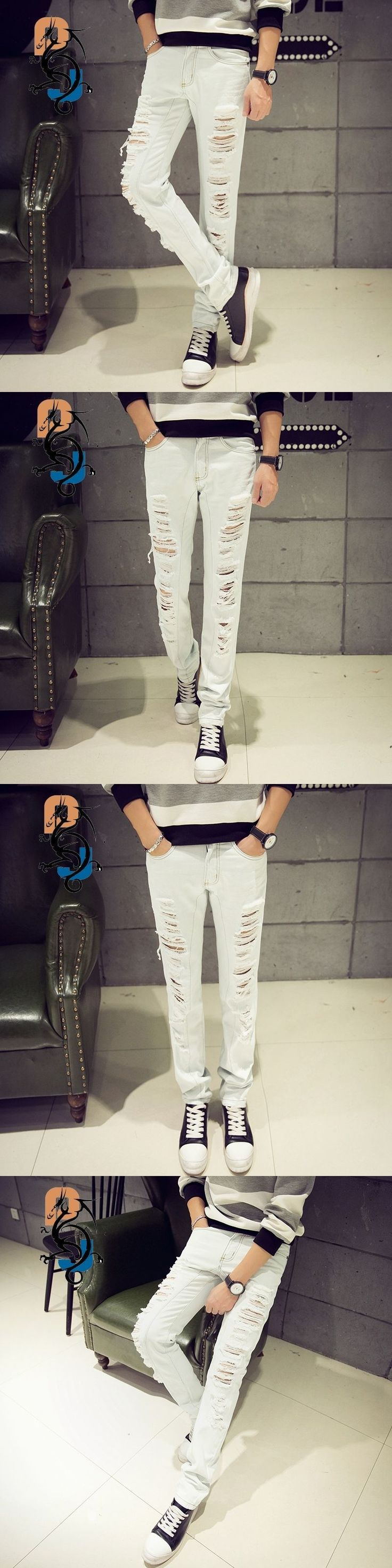 2016 Spring New Arrival White Ripped Slim Fit Jeans/Punk Style Biker Jeans For Men/High Quality Denim Joggers Large Plus Size 42