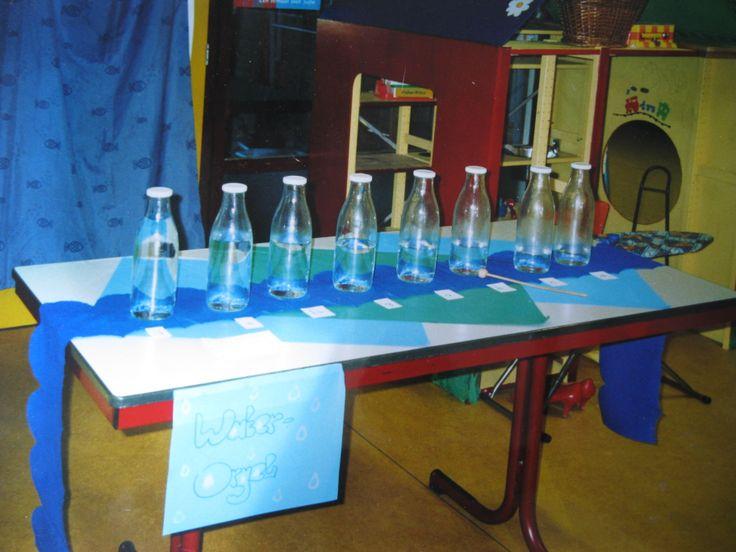 """""""waterorgel """"gemaakt van de zelfde maat glazen flessen, steeds een beetje meer water er in gedaan. afgestemd m.b.v. de blokfluit, zodat er een octaaf ontstaat. Met een houten stokje de flessen""""bespelen"""" ( AnneK)"""