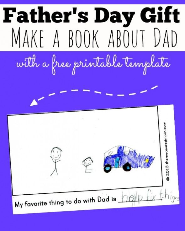 Father's Day gift... make a book about Dad! Print the free template and have early writers fill in the blanks themselves or dictate to you.