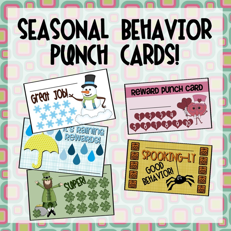 Visual reinforcement for behavior is always best and these punch cards are a fun, easy way to encourage your students to show appropriate behavior. Some ideas for use include homework completion, attendance, appropriate behavior during the day – the possibilities are endless!  These cards are presented in PDF format, which means you can print them as many to a page as you want!  - #Christmas – #Halloween - #Holiday - Leaves - Rain - #Snowmen - #Spring - St. Patrick's Day - Sun - #Valentine's…