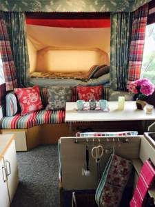 Such gorgeous fabrics in this folding camper makeover http://foldingcamperowners.com/jennys-folding-camper-makeover/