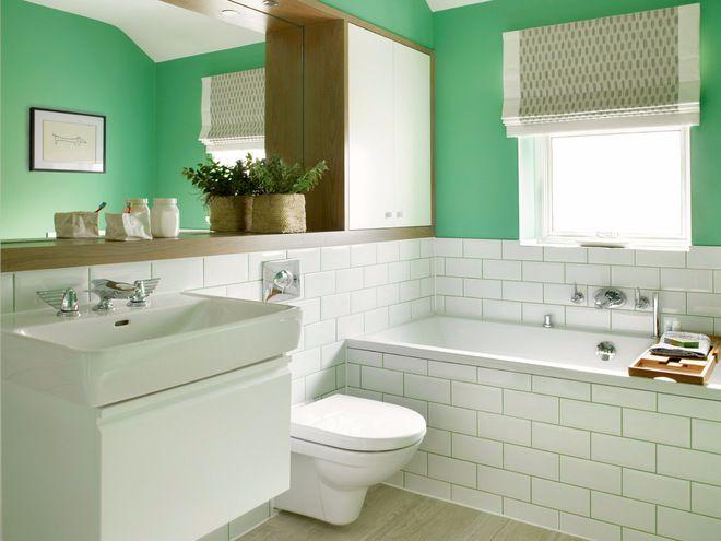 Голубые и светло-зеленые оттенки ванной комнаты