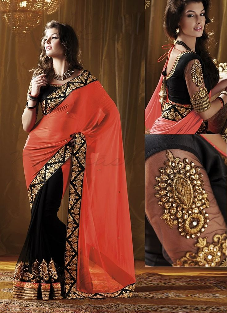 Black and Orange Georgette #saree #sari #blouse #indian #outfit #shaadi #bridal #fashion #style #desi #designer #wedding #gorgeous #beautiful