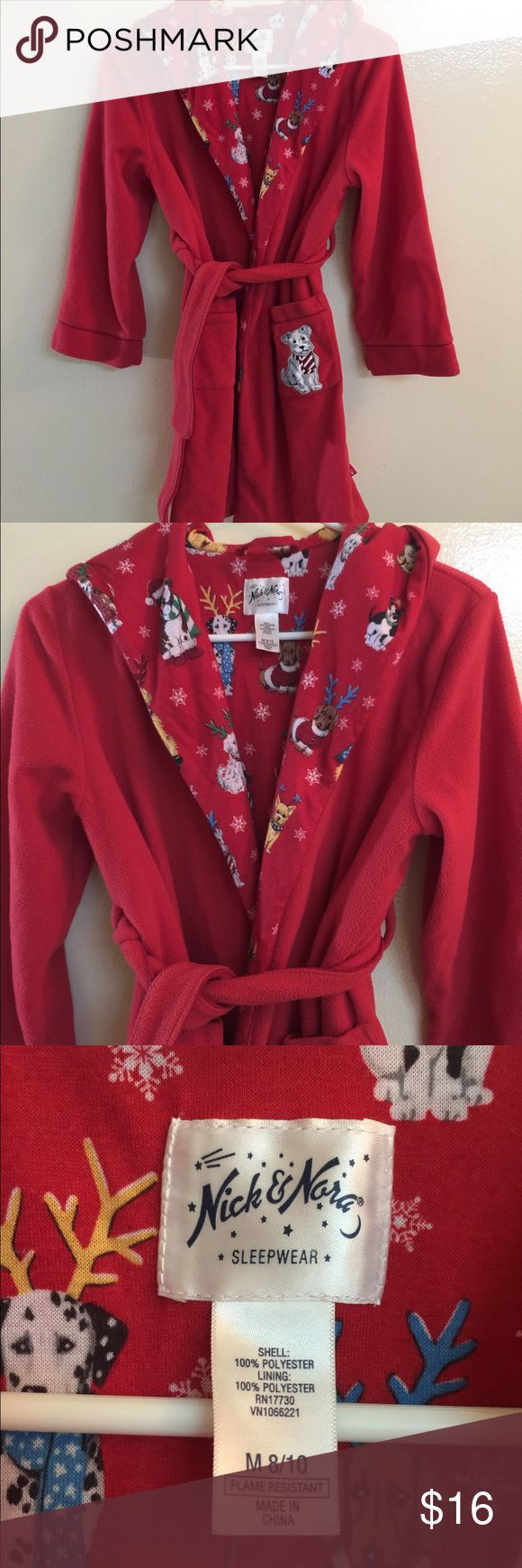 Nick and Nora Red Child's Robe w/ Dogs This is about the cutest holiday robe ever! Your child will love it! It is in perfect like new condition and ready to live at your house. Both shell and lining are 100% soft flannel like Polyester. Nick & Nora Pajamas Robes