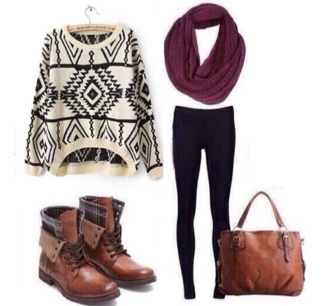 Sweater tribal Aztec black and white black leggings ...