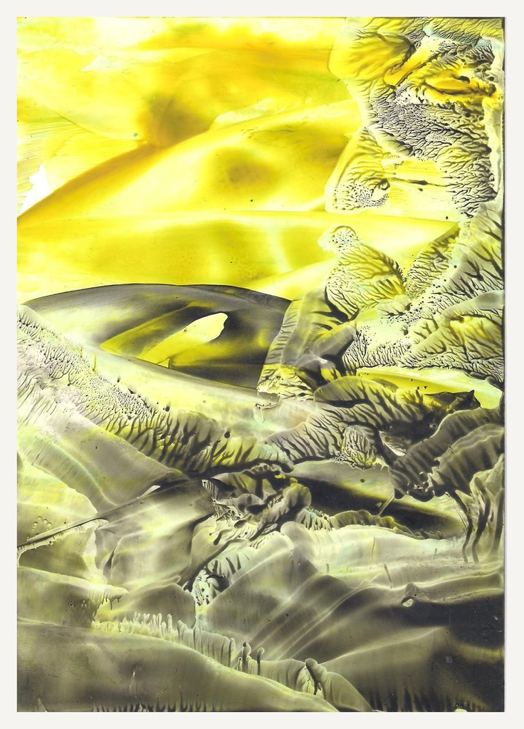 .Yellow and Black Encaustic art wax fantasy landscape painting.