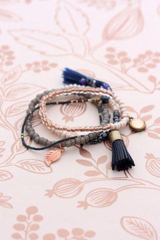 Cloud Nine Creative - Tassel Bracelet Set - Rose Gold & Navy