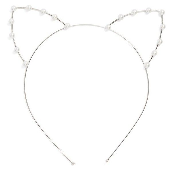 Cara Faux Pearl Cat Ear Headband ($20) ❤ liked on Polyvore featuring accessories, hair accessories, headwear, hats, headbands, silver, beaded headband, head wrap headband, hair band headband and hair bands accessories