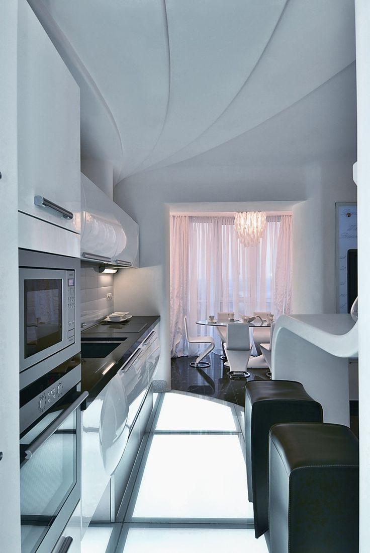 Marvelous Kitchen U0026 Dining Room Decor, White Apartment Interior Design By Natalya  Farnosova, Futuristic Part 26