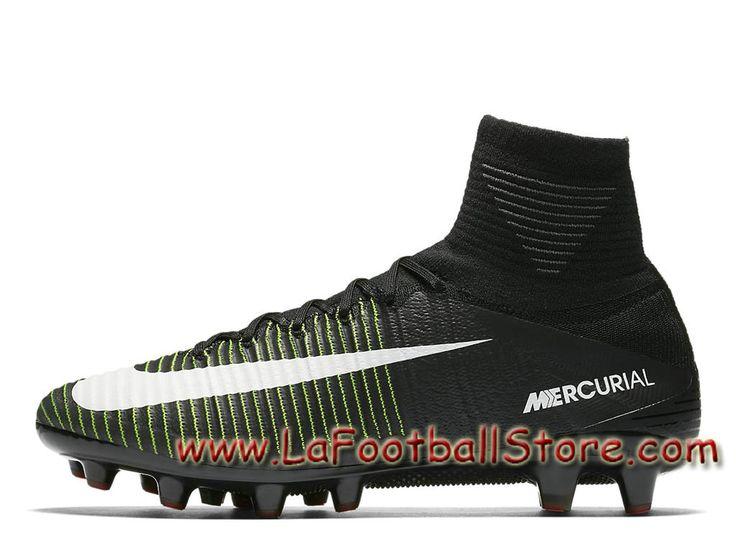 Nike Mercurial Superfly V AG-PRO 831955_013 Chaussure de football à crampons pour terrain synthétique pour Homme Noir Bleu souverain