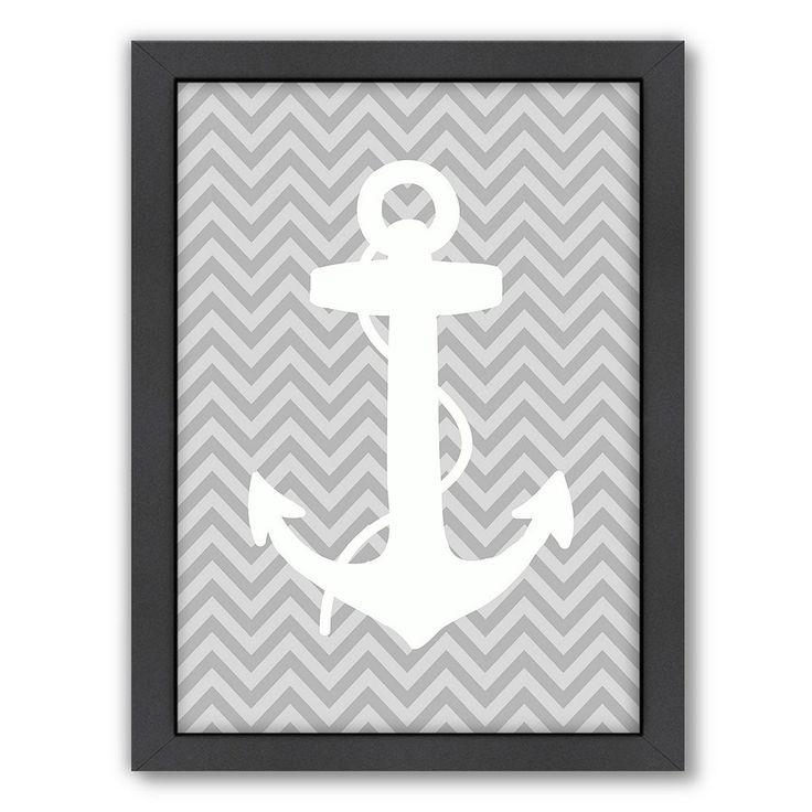 Americanflat Sea Chevron Anchor Framed Wall Art, Black
