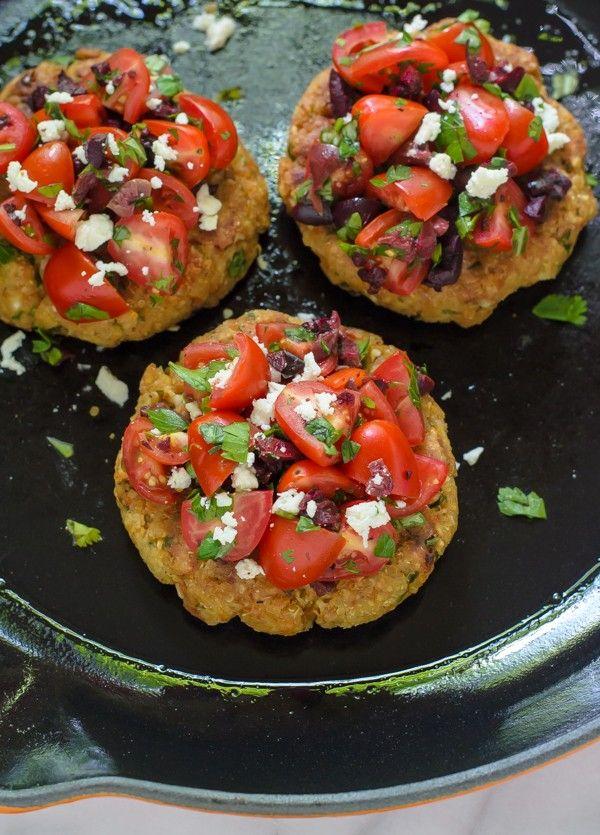 Mediterranean Quinoa Burgers with Tomato Feta Topping