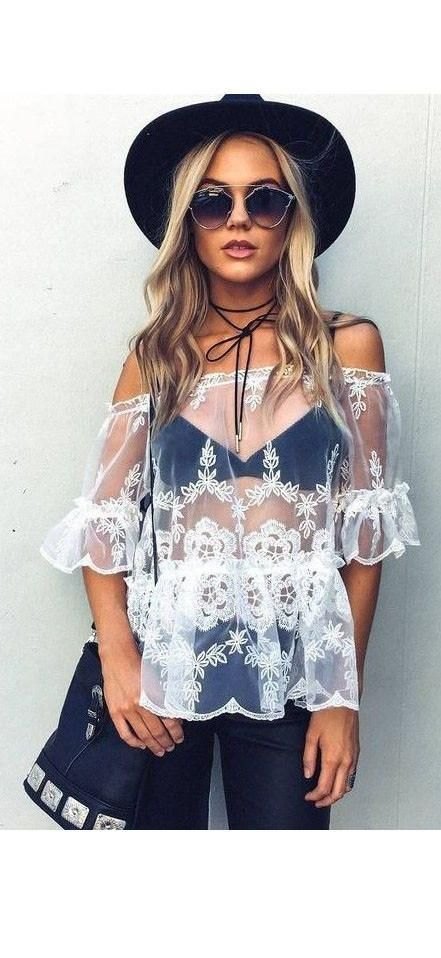 Sexy Off Shoulder Ruffles White Lace Top Sheer See Through Embroidered Blouse