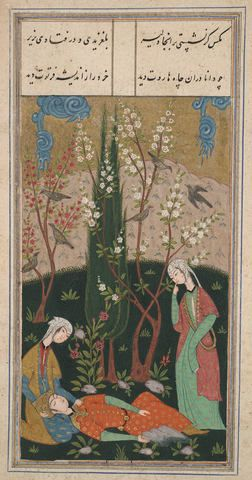 Illustration from an Unidentified Manuscript, possibly the Masnavi of Jalal al-Din Muhammad Rumi ca. 1560 Opaque watercolor, ink and gold on paper Without mounting: 14.9 x 7.5cm (5 7/8 x 2 15/16in.) With mounting: 32 x 21.7cm (12 5/8 x 8 9/16in.) Yale University Art Gallery