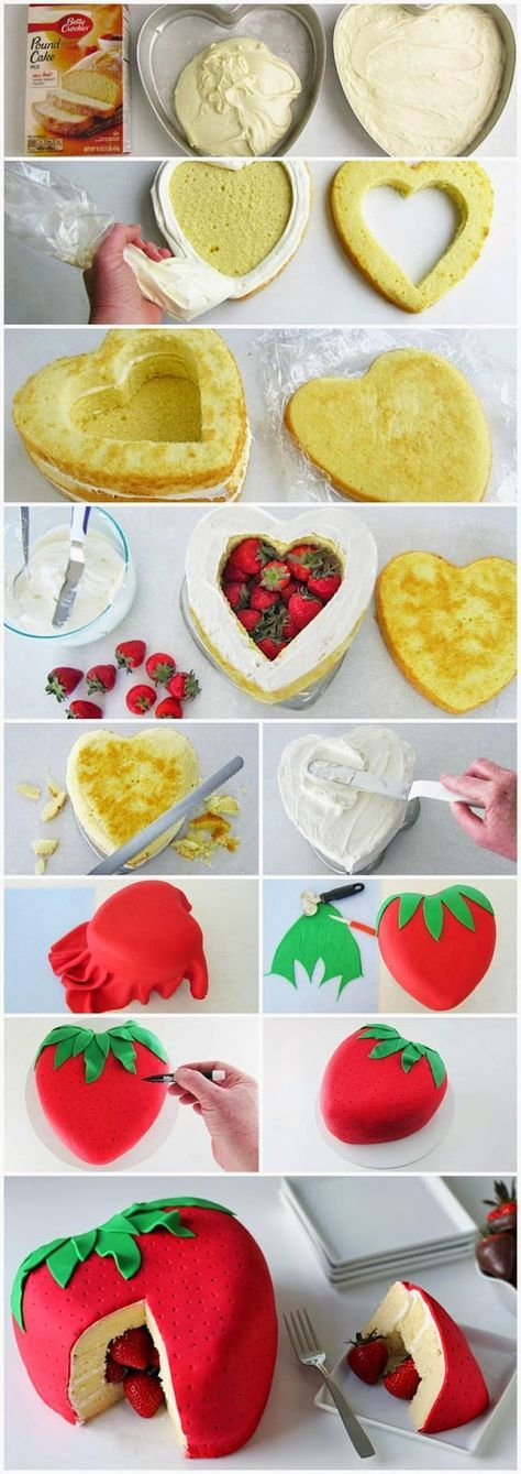 Strawberry Surprise Cake! I really want to make this soooooooo bad!!!!!!!!!! ❤️