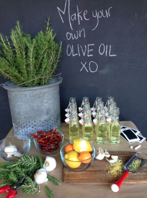 DIY Olive Oil Bar. Such a cute idea, I had no idea you could customize olive oil so easily!
