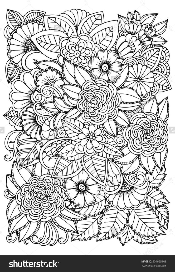 Black And White Flower Pattern For Coloring Doodle Floral Drawing Art Therapy Coloring Page Rela Flower Coloring Pages Pattern Coloring Pages Floral Drawing