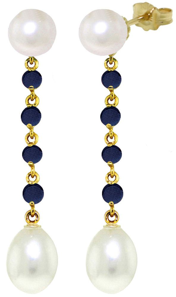 14K Solid Gold 11 Carat Natural Pearl Sapphire Earrings Wt 4.20g H 1.78in #GalaxyGold #Chandelier