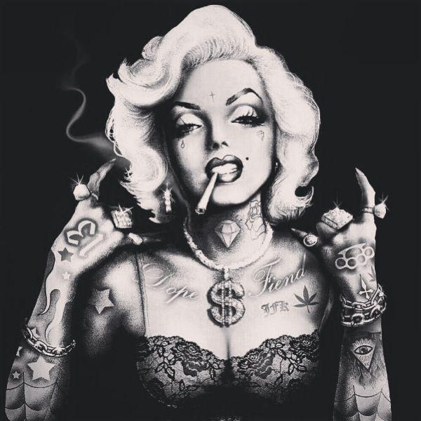 Gangster Marilyn Monroe Pinup Art Print by Marcus Jones , this is wavy~
