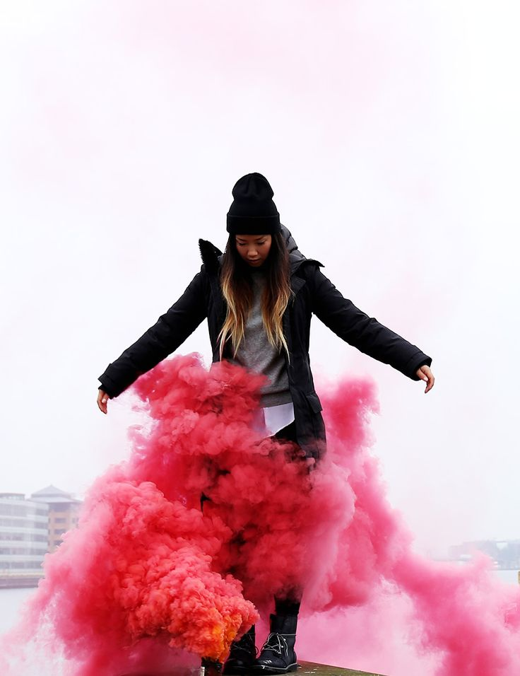 red smoke flare photography - I love that she's not looking at the camera, going to have to recreate •