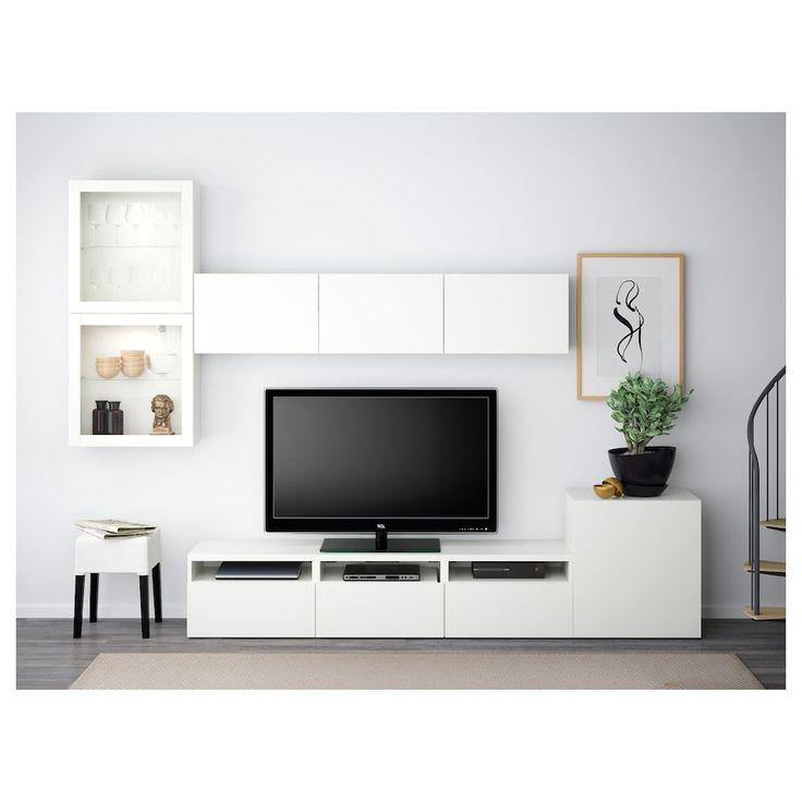IKEA BESTA Lappviken, Sindvik White Clear Glass TV storage combination/glass doors
