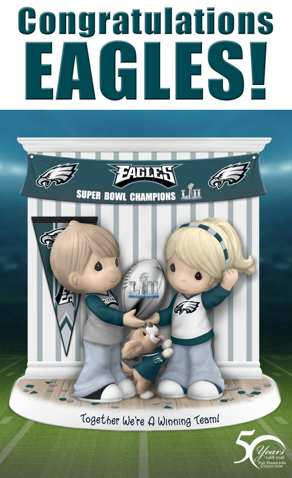 Join these Precious Moments cuties in a victory parade to celebrate Super Bowl LII Champions, the Philadelphia Eagles! This adorable family is dressed in their favorite Eagles apparel and are putting their pride on full display. Officially licensed by the NFL, this limited-edition collectible figurine is handcrafted of fine bisque porcelain and lets you celebrate the thrill of this epic win all year round!