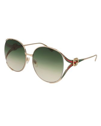 b4024ff6097 Oval+Web+GG+Sunglasses++by+Gucci+at+Neiman+Marcus.