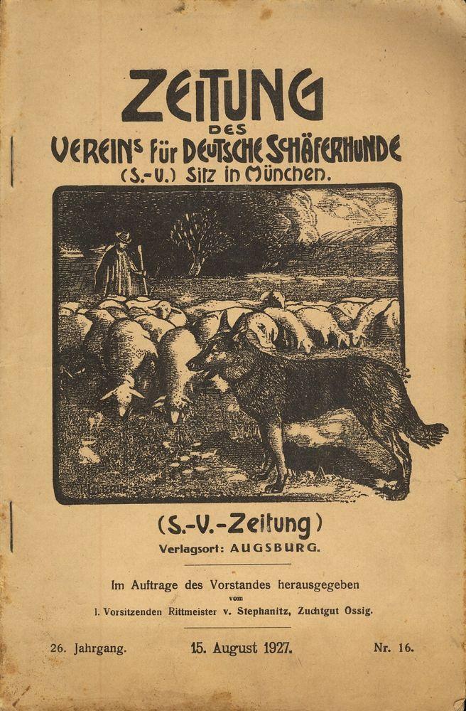 Zeitung des Vereins für Deutsche Schäferhunde Nr. 16 vom 15. August 1927 S.-V. Z