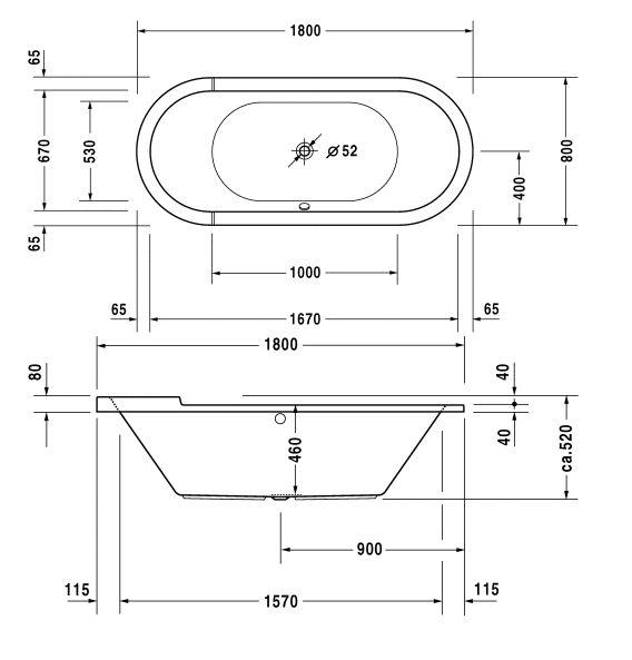 Køb Duravit Starck ovalt badekar 180 x 80 cm 667931000+