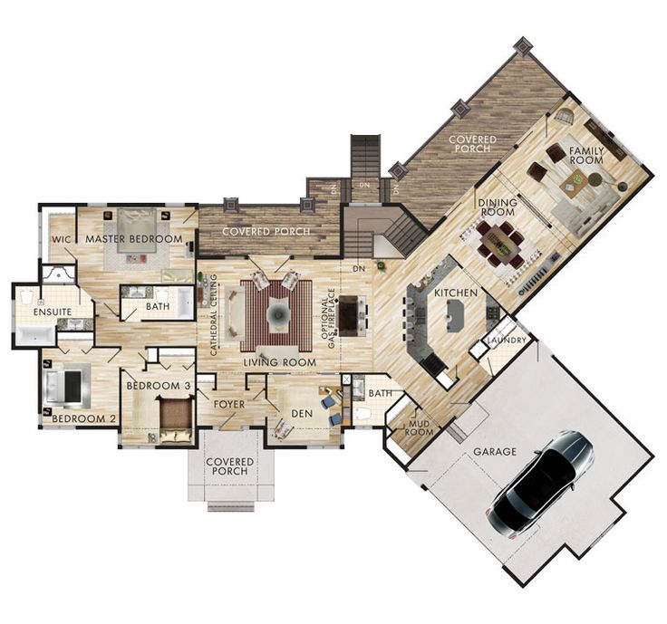 Prairie View Floor Plan. I would move the living/dining area to where the bedrooms are with utilities in between, to open it up with lots of windows.