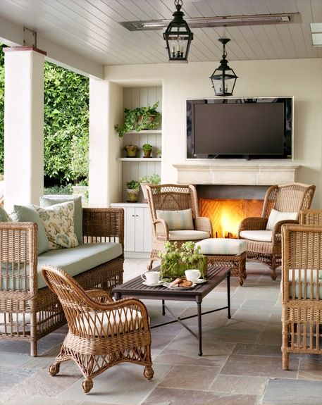 outdoor living--fireplace, in-ceiling heaters, t.v. Love it! (if the tv is thief-proof)