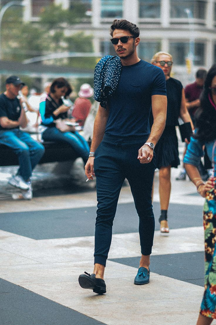 STREETSTYLE | New York Fashion Week SS15 – monochromatic, fitted tee + joggers + polka dotted blazer // menswear casual street style + fashion