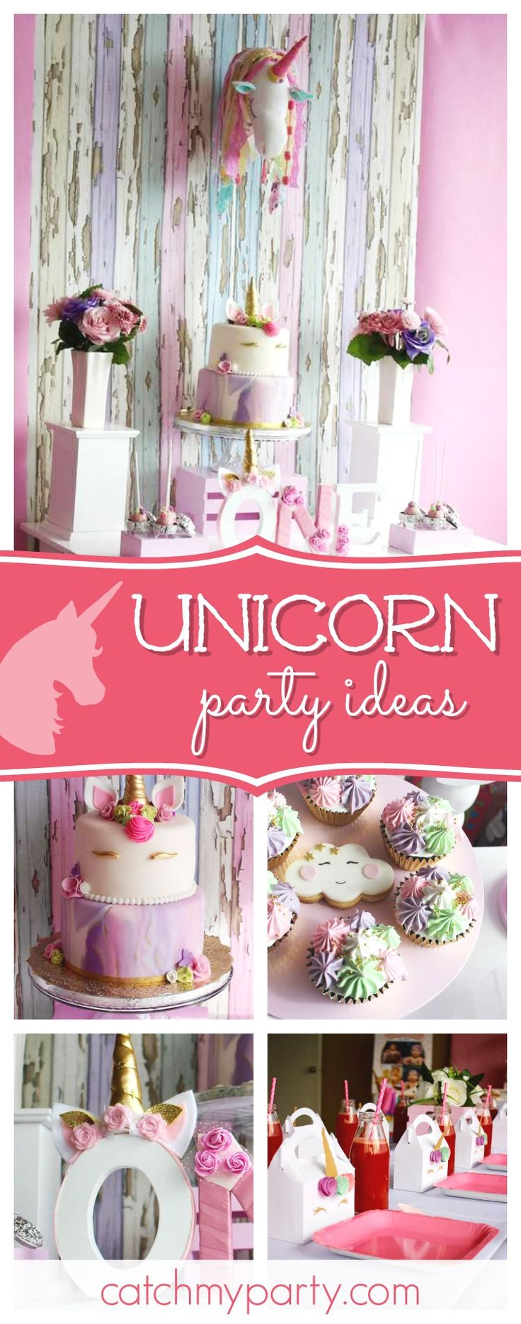 Take a look at this magical Unicorn birthday party! The ombre unicorn birthday cake is gorgeous!! See more party ideas and share yours at CatchMyParty.com  #party #unicorn
