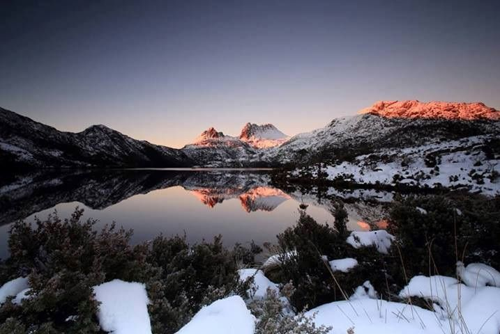 Cradle Mountain covered in snow.