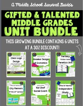 This growing bundle contains 6 units for middle grades gifted and talented classes! It can be used with a whole class or as enrichment for gifted students or early finishers.