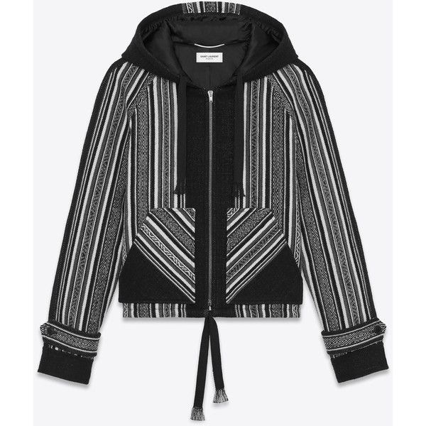 Saint Laurent Baja Jacket ($3,445) ❤ liked on Polyvore featuring men's fashion, men's clothing, men's outerwear, men's jackets, mens short sleeve jacket, yves saint laurent mens jacket and mens hooded jackets