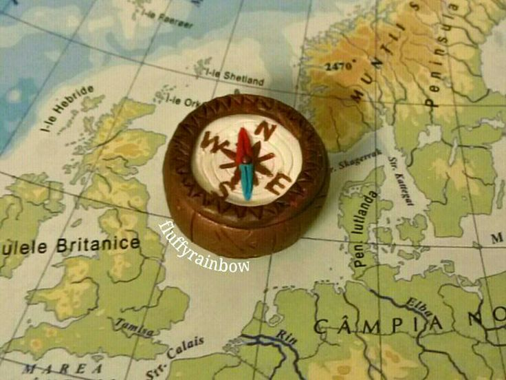 Polymer clay compass charm