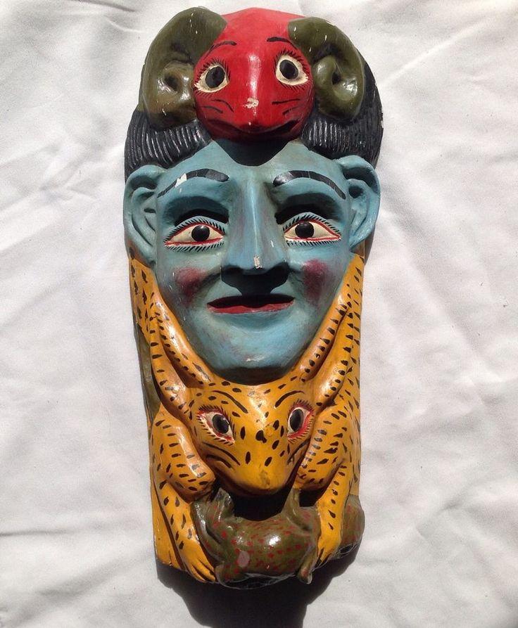 Antique Mask Animals Blue Face Ram Jaguar Lizard Mayan ...