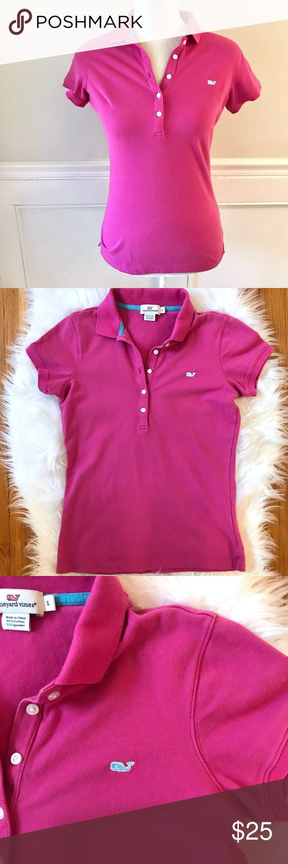 """VINEYARD VINES Bright Pink Cotton Polo Shirt Small Excellent preowned condition. Very soft and stretchy- 95% cotton/5% spandex. Figure flattering polo shirt with 5 buttons and embroidered whale logo. Pretty pink color with blue accents. Size S/Small.  Approximate measurements: Bust 16"""" across Shoulder to hem 23.25"""" Vineyard Vines Tops"""