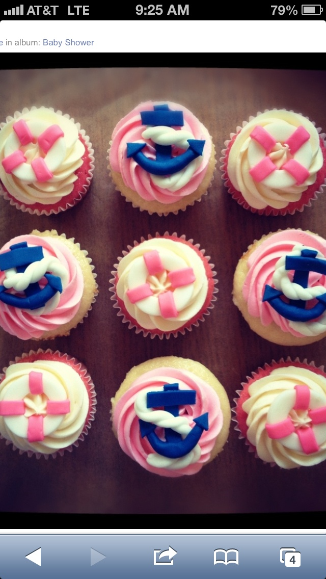 Life Ring And Anchor Pink And Navy Cupcakes! Perfect For A Party!