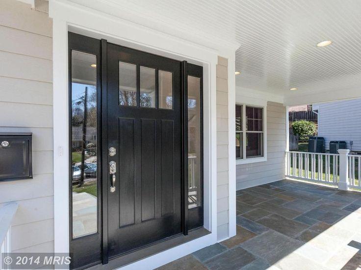 Traditional Front Door with Simpson craftsman three panel exterior door (6863), exterior stone floors, Glass panel door