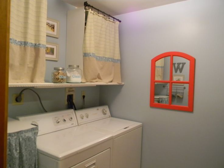 Basement Laundry Room   Like Dark Rods W/ Curtains, Pale Blue Paint And Pop